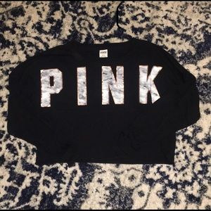 PINK Cropped Marble Long Sleeve Tee